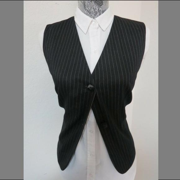 Sz 8 Black Pinstripe Women Cotton/Poly #232 Suit Vest